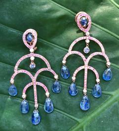 PINK & BLUE SAPPHIRE PAVE KYANITE DROPS OMEGA BACK #LUS45ER1250