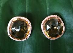 ROSE CUT CITRINE & DIAMONDS POST BACK #HAN10ER950