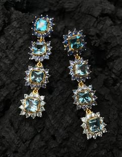 Blue Topaz, Blue Sapphire, Tanzanite & Zircon Earrings