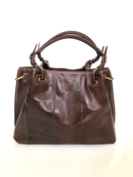 SEA SNAKE SATCHEL DARK BROWN $675