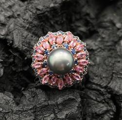 Tahitian Grey Pearl, Pink Sapphire & Tanzanite Ring