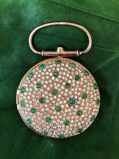 emerald cabochon & white topaz pave locket #LUS4CPT1295