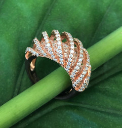 micro pave cz on rose gold plated sterling #CUV5RG295