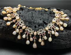 Opal, White Zircon, Tanzanite, Pink & Fancy Sapphire Necklace