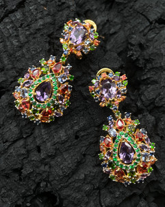 Amethyst, Green Chrome, Tanzanite, Green Garnet, Blue & Orange Sapphire Earrings