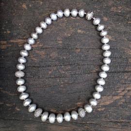 GREY FRESH WATER PEALRS DIAMOND ROUNDELS WHITE SAPPHIRE CLASP #PHI13BNK1590