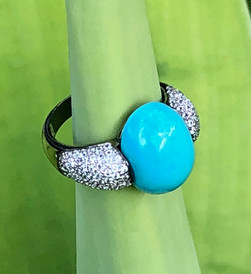 WHITE TOPAZ WITH TURQUOISE #DQ17RG550