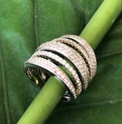 micro pave cz multi banded sterling silver #CUV18RG375