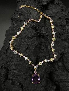 Amethyst 27.4 cts (pendant) & 13.58 cts, Aquamarine 15.4 cts, Lemon Quartz & White Zircon Necklace