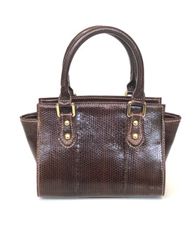 SEA SNAKE SMALL SATCHEL IN DARK BROWN $495