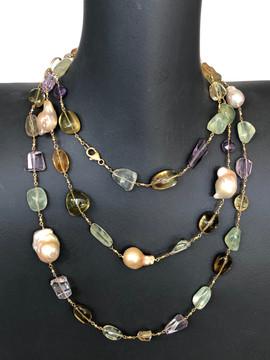 baroque pearls and semi precious stone #SAR10NK1550