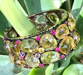 CHAMPAGNE TOPAZ RUBY PINK & YELLOW SAPPHIRE BLACK SPINEL #DQ1ABG1650