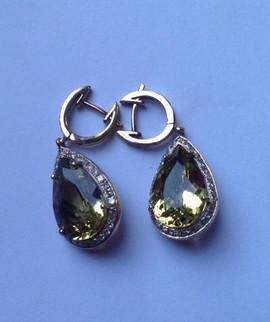 LEMON QUARTZ DIAMOND HOOP #HAN2ER975