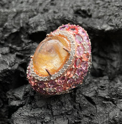 Rutile, Pink Sapphire & White Zircon Ring