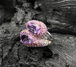 Amethyst, Pink Sapphire & White Zircon Ring