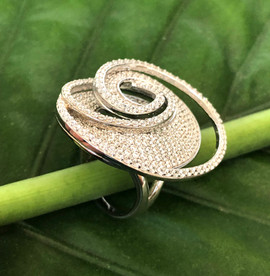 micro pave cz on sterling silver ring #CUV9RG375