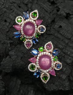 Ruby, Green Chrome, kyanite & White Zircon Earrings