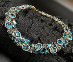 Blue & London Blue Topaz, Iolite, White Zircon & Blue Sapphire Necklace