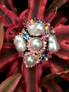 FRESH WATER BAROQE PEARLS BLUE TOPAZ RUBY AMETHYST PINK & YELLOW SAPPHIRE PENDANT/BROACH #KNN1PT1550