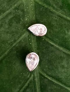 pear shape cz on sterling silver stud earrings #BLU6ER195