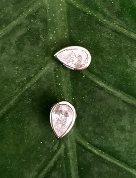 pear shape cz on sterling silver stud earrings #BLU6ER195