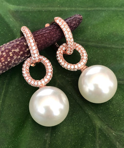 synthetic pearls cz on rose gold plating #CLA2RGER390