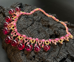 Ruby, Pink, Yellow & Fancy Sapphire & White Zircon Necklace. 4 additional drops each side