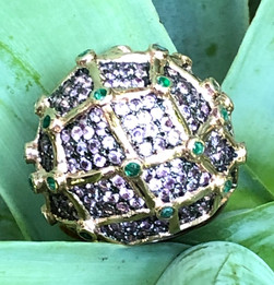 PINK SAPPHIRE AND EMERALD ON 18K VERMEIL #LUS29RG1350