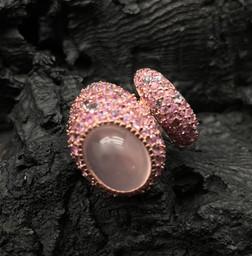Rose Quartz, Pink Sapphire & Tanzanite Ring