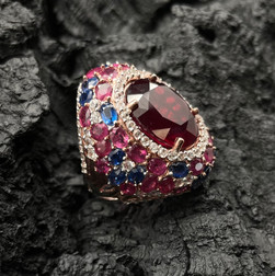 Ruby 20.4 cts & 9.75 cts, Kyanite & White Zircon Ring