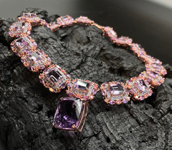 Amethyst (+30 cts Pendant), Tanzanite & Pink Tourmaline Necklace