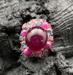 Ruby, Blue & Pink Sapphire, Ruby Johnson Ring
