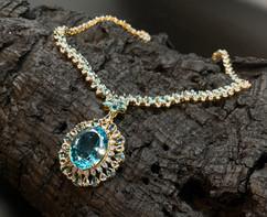 Blue 36.95 cts (Pendant) & 2.6 cts & London Topaz, Aquamarine, White & Fancy Zircon Necklace