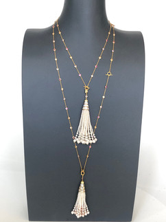 color cz on sterling silver necklace with fresh water pearls #CUV1NK1100