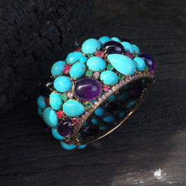TURQUOISE & AMETHYST CAB RUBY EMERALD PINK SAPHIRE #DQ1HBG2490