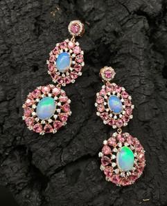 Opal, Pink Sapphire & White Zircon Earrings
