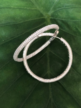 micro pave cz on sterling hoop earrings #CUV15ER450