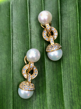 FRESH WATER PEARLS BLUE SAPPHIRE PAVE OMEGA BACK #LUS26A-ER 925