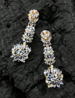 Tanzanite &White Zircon Earrings