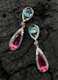 Pink & Longon Blue Topaz, Blue & White Zircon, Blue Sapphire Earrings