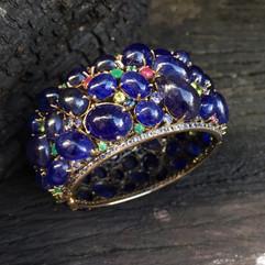 BLUE SAPPHIRE CAB EMERALD RUBY YELLOW SAPPHIRE PERIDOT & WHITE TOPAZ #DQ1CBG2990