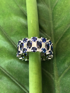 cz and blue corundum on sterling silver #CUV23RG395 (7 & 8)