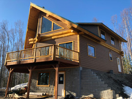 Prow front log home