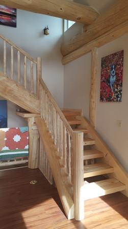 Split log stair case