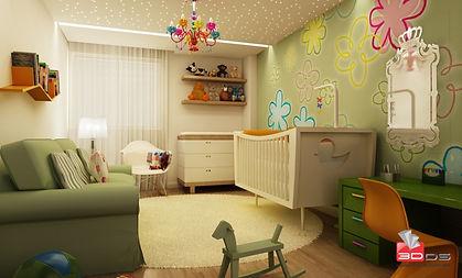 Maquete Eletrônica 3D Interna de Quarto Infantil
