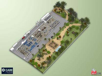 Planta Humanizada 3D de Hospital