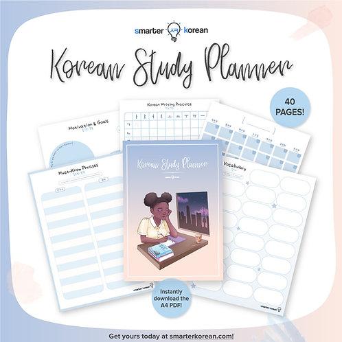 Printable Korean Study Planner, Note Organizer, Reusable Templates