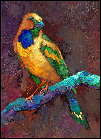 YELLOW BIRD WITH BLUE PATCH (Detail)