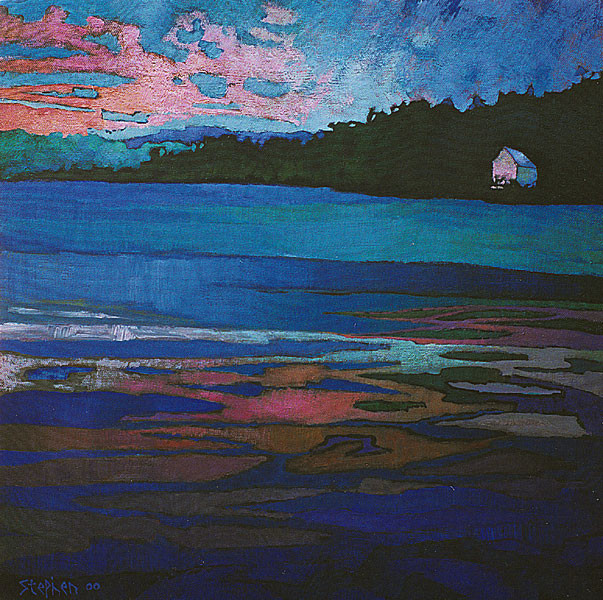 LAKE HOUSE WITH PINK CLOUD