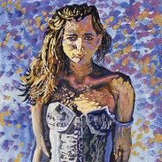 GIRL ON BLUE AND OCHRE